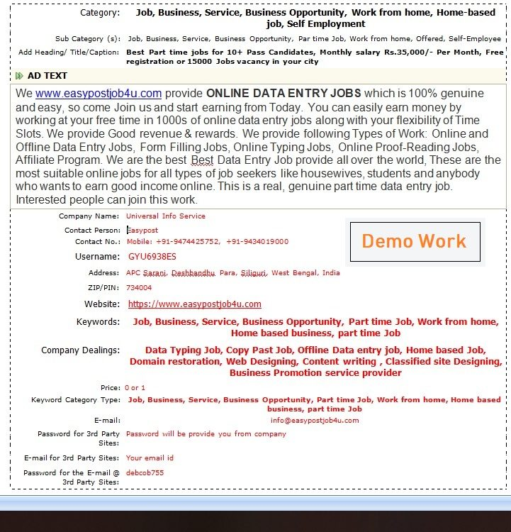Ad Posting Jobs Work Demo